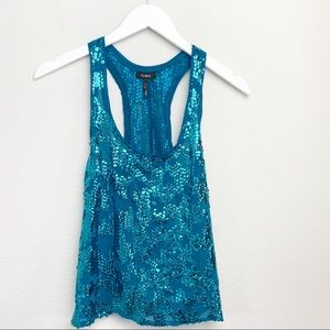 Turquoise Sequence Tank Top - Size Small